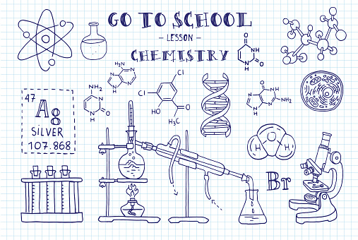 Chemistry Hand Sketches On The Theme Of Chemistry Note Book Page ...