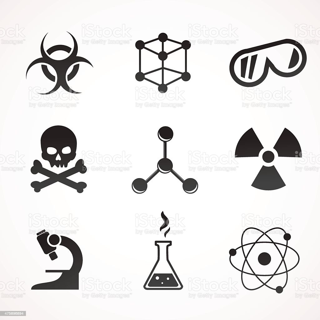 Chemistry icon set. vector art illustration
