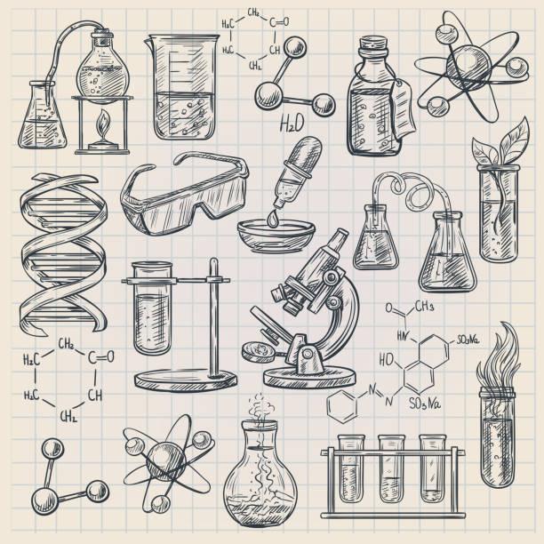 Chemie-Icon-Skizze – Vektorgrafik