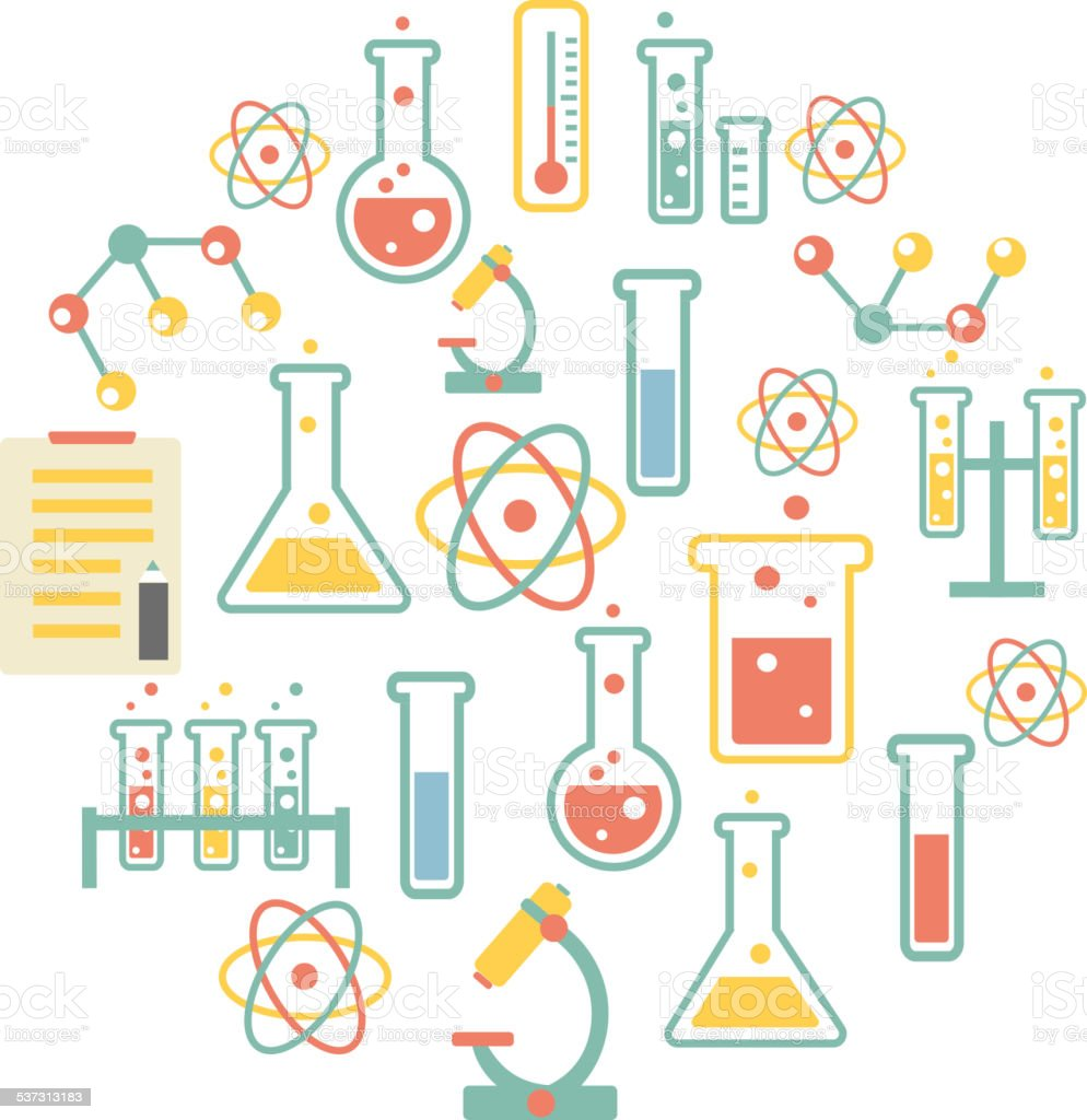 chemistry icons background vector art illustration