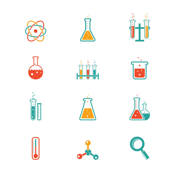 Chemistry icons vector colored chemistry icons for learning and web applications laboratory flask stock illustrations
