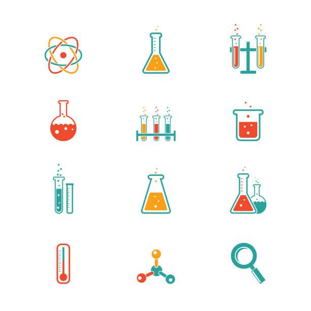 stockillustraties, clipart, cartoons en iconen met chemistry icons - scheikunde