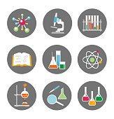 Chemistry icons. Vector illustration.
