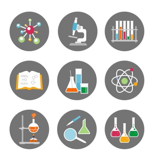 bildbanksillustrationer, clip art samt tecknat material och ikoner med kemi-ikoner. vektorillustration. - test tube