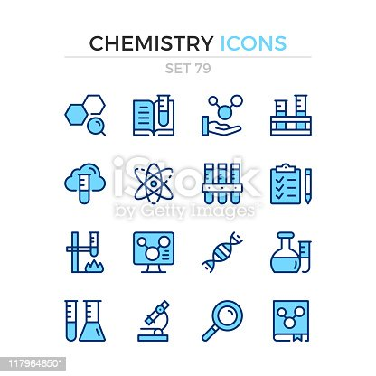 Chemistry icons. Vector line icons set. Premium quality. Simple thin line design. Modern stroke outline symbols collection, pictograms.