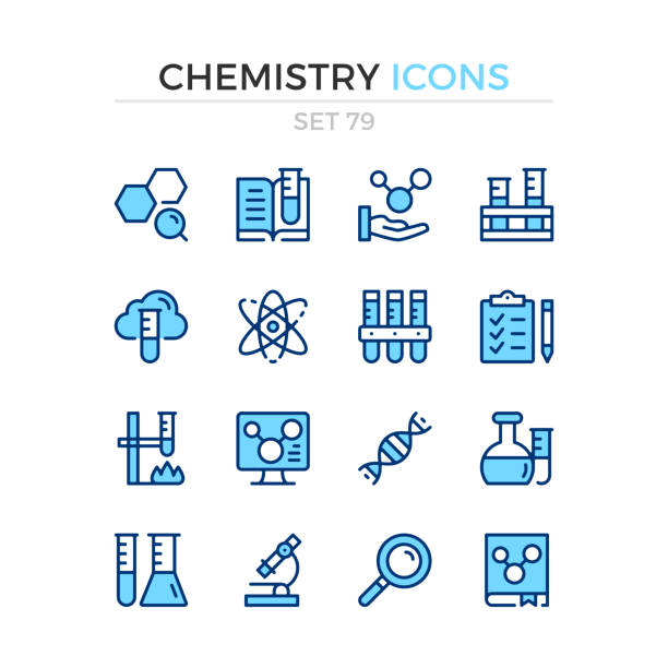 Chemistry icons. Vector line icons set. Premium quality. Simple thin line design. Modern stroke outline symbols collection, pictograms. Chemistry icons. Vector line icons set. Premium quality. Simple thin line design. Modern stroke outline symbols collection, pictograms. chemistry stock illustrations
