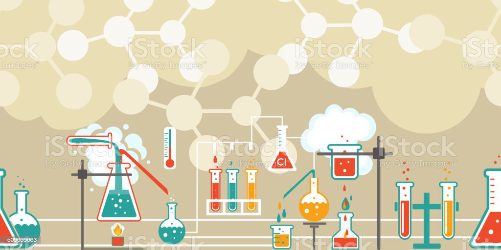 Chemistry infographic in a seamless pattern vector art illustration