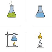 Chemistry lab color icons set