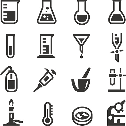 A set of chemistry laboratory object icons set, include a bunsen burner, a microscope, pipette and a squeeze bottle.