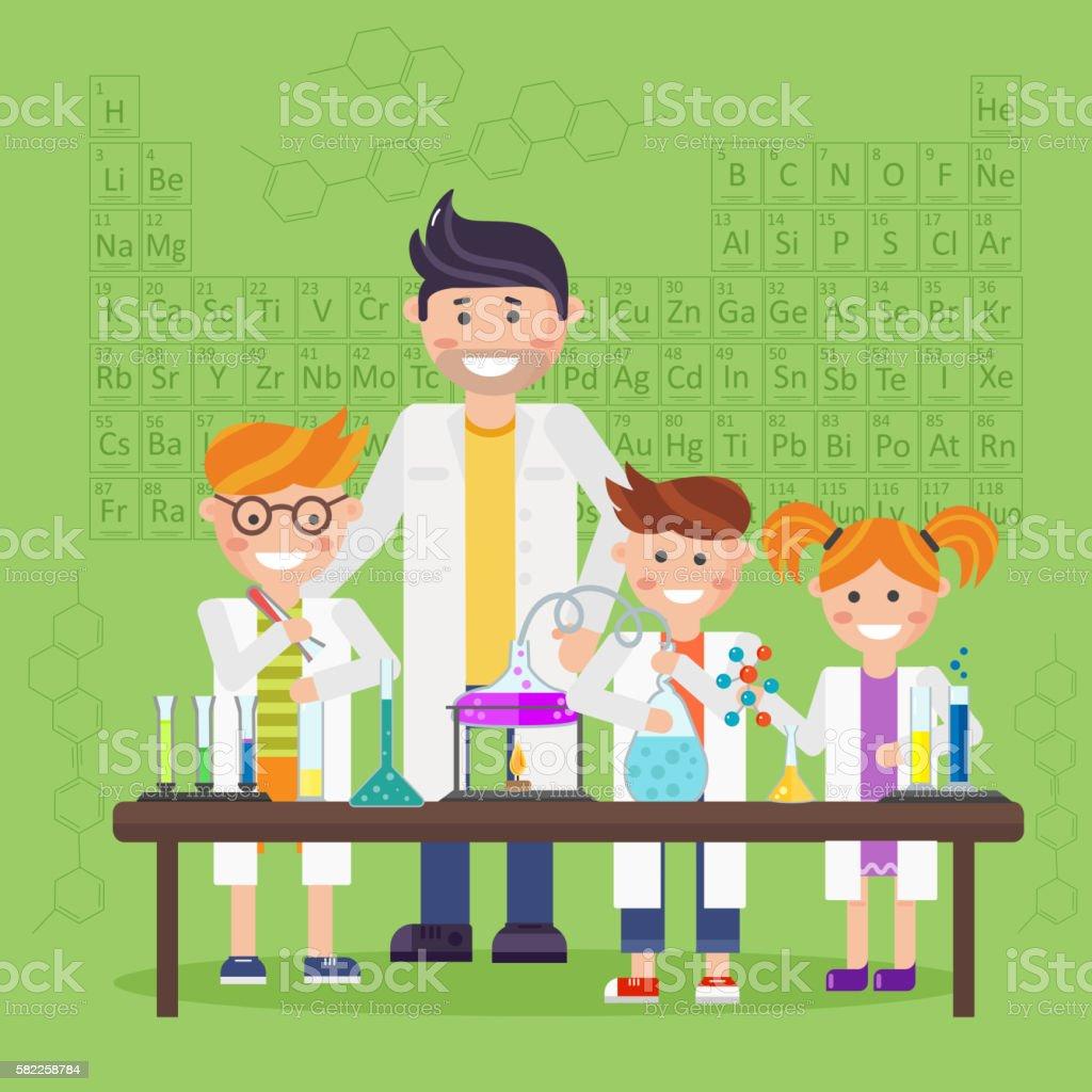 Química laboratório, conceito de educação - ilustração de arte em vetor
