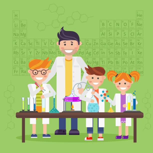 ilustrações, clipart, desenhos animados e ícones de química laboratório, conceito de educação - aula de ciências