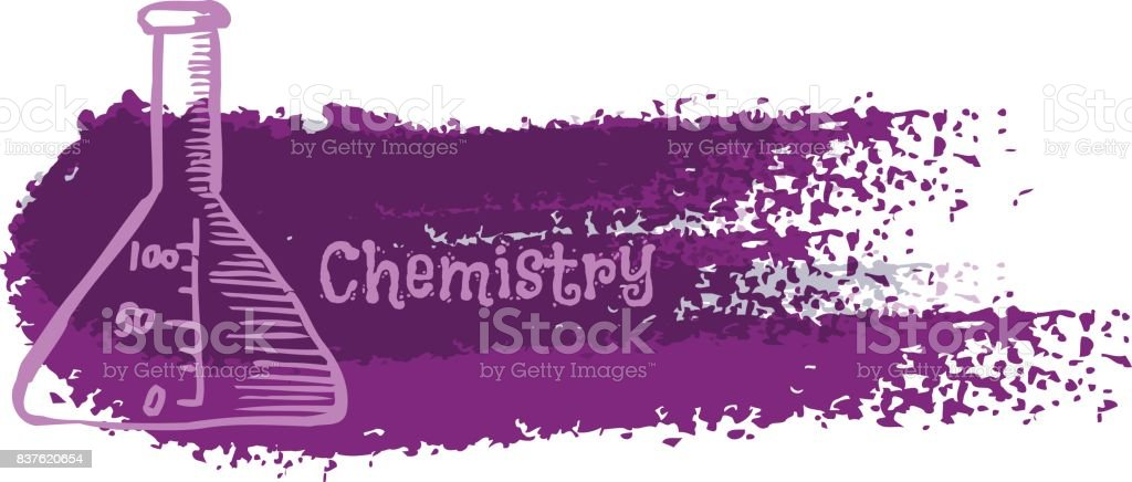 Chemistry Laboratory Flask On Abstract Background In The