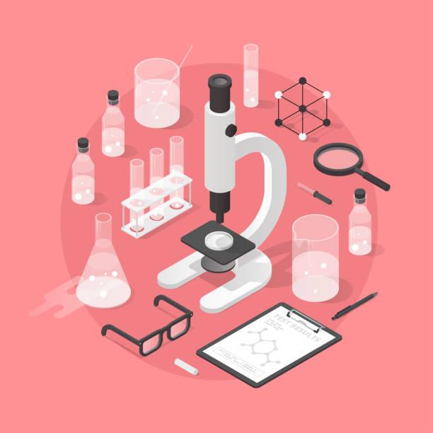 bildbanksillustrationer, clip art samt tecknat material och ikoner med kemi laboratoriet objekt illustration - microscope