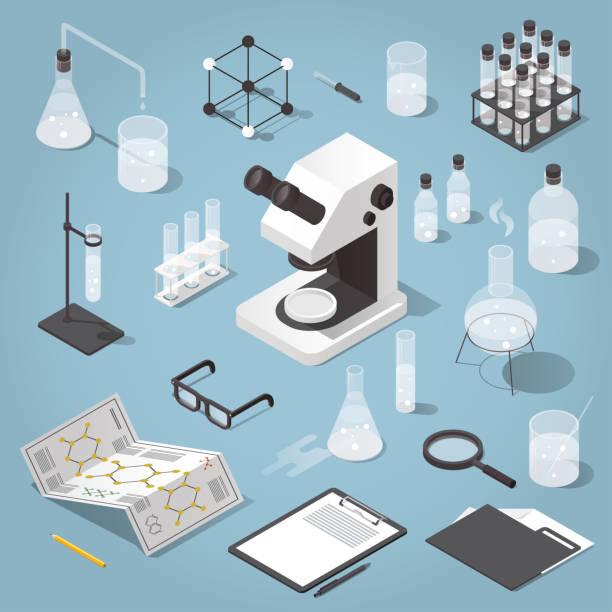 Chemistry laboratory objects set vector art illustration