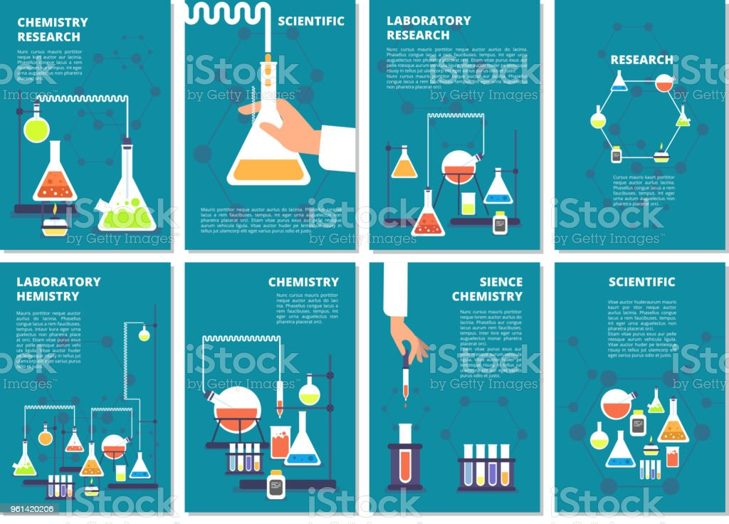 Chemistry laboratory testing. Pharmacy processing and science medical research lab. Vector book covers, brochure template vector art illustration