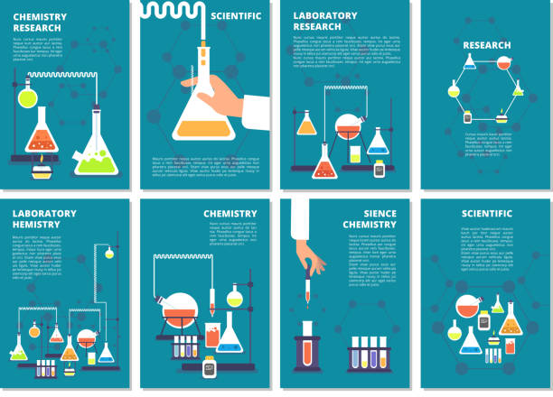 ilustrações de stock, clip art, desenhos animados e ícones de chemistry laboratory testing. pharmacy processing and science medical research lab. vector book covers, brochure template - laboratory