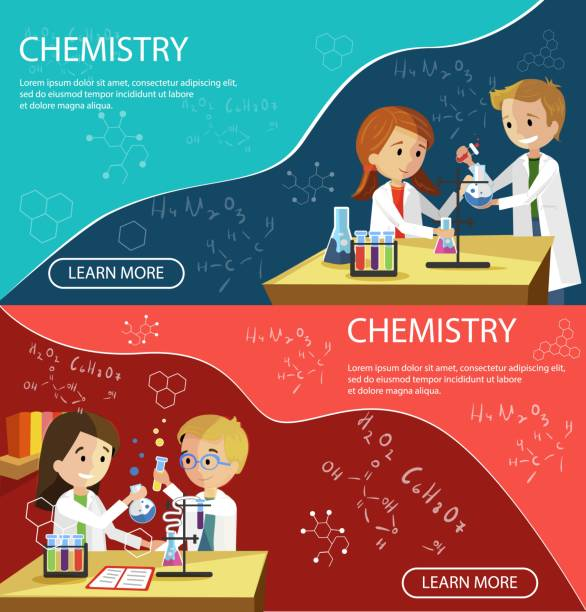 Chemistry Lesson Children School Elementary Class. Chemistry Lesson Children School Elementary Classes Banner Vector Flat Illustration. Different Formulas. Students Conduct Experiments with Mixing Reagents. Children Learn Element Boy Holds in Hands elementary age stock illustrations