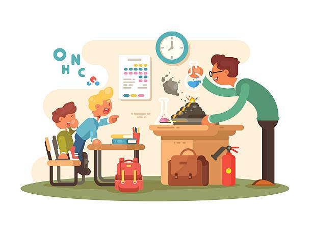 ilustrações, clipart, desenhos animados e ícones de chemistry lesson in classroom - aula de ciências