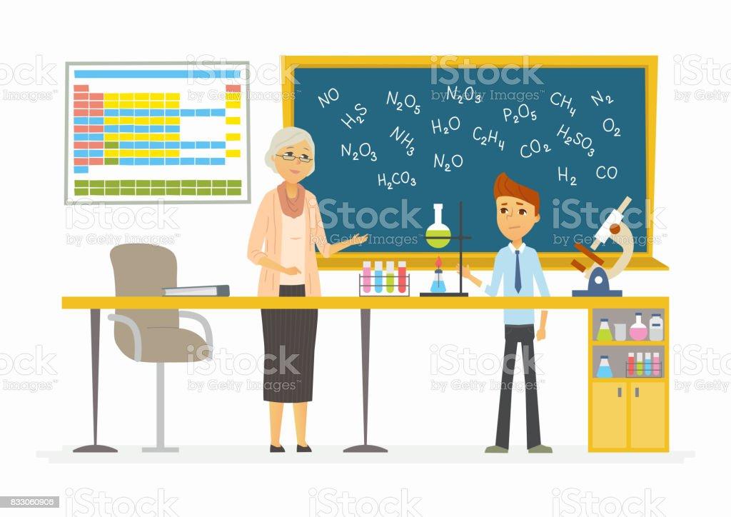 Aula de química - ilustração de personagens do desenho animado moderno pessoas - ilustração de arte em vetor