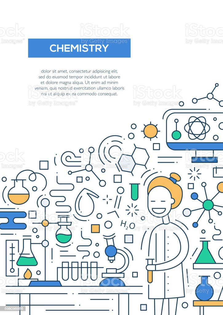 Line Drawing Rules Chemistry : Chemistry line design brochure poster template a stock