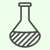 Chemistry line icon. Laboratory flask glass with liquid outline style pictogram on white background. Science and biology signs for mobile concept and web design. Vector graphics