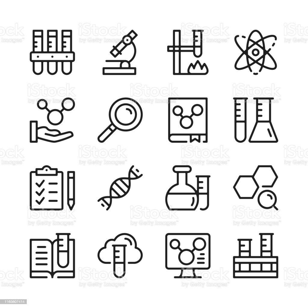 Scheikunde lijn icons set. Moderne grafische ontwerpconcepten, eenvoudige lineaire contour elementen collectie. Dun lijn ontwerp. Vector lijn iconen - Royalty-free Aaien vectorkunst