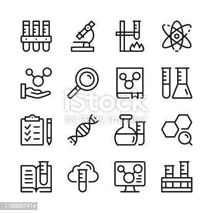 Chemistry line icons set. Modern graphic design concepts, simple linear outline elements collection. Thin line design. Vector line icons
