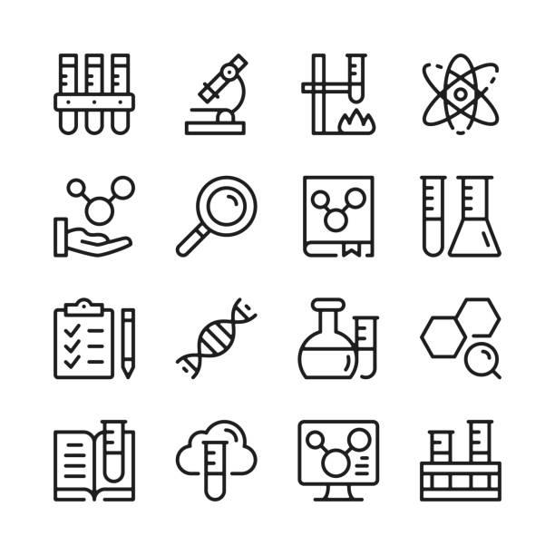 ilustraciones, imágenes clip art, dibujos animados e iconos de stock de conjunto de iconos de línea química. conceptos de diseño gráfico modernos, colección de elementos de contorno lineal simple. diseño de línea delgada. iconos de línea vectorial - química