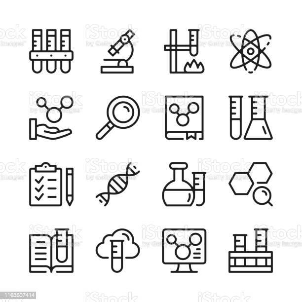 Scheikunde Lijn Icons Set Moderne Grafische Ontwerpconcepten Eenvoudige Lineaire Contour Elementen Collectie Dun Lijn Ontwerp Vector Lijn Iconen Stockvectorkunst en meer beelden van Aaien