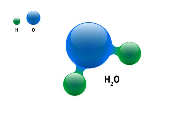 chemie modell molekül wasser h2o wissenschaftliche element formel. integrierte partikel natürliche anorganische 3d-molekularstruktur bestehend. zwei wasserstoff- und sauerstoffvolumen-atomvektorkugeln - sauerstoff stock-grafiken, -clipart, -cartoons und -symbole