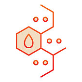 istock Chemistry molecular element line icon. Combs with dots and drop, molecule formula. Oil industry vector design concept, outline style pictogram on white background. 1212051030