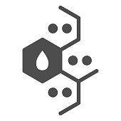 istock Chemistry molecular element solid icon. Combs with dots and drop, molecule formula. Oil industry vector design concept, glyph style pictogram on white background. 1209013656