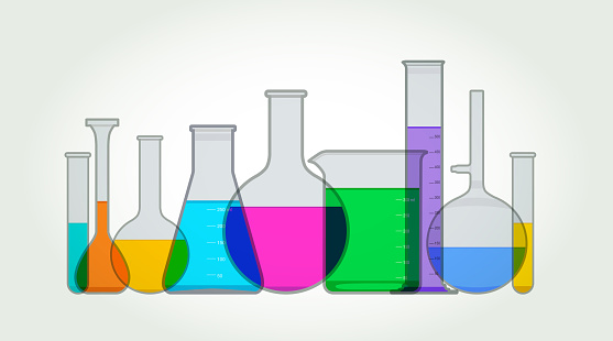 Chemistry or Laboratory Flasks and Beakers