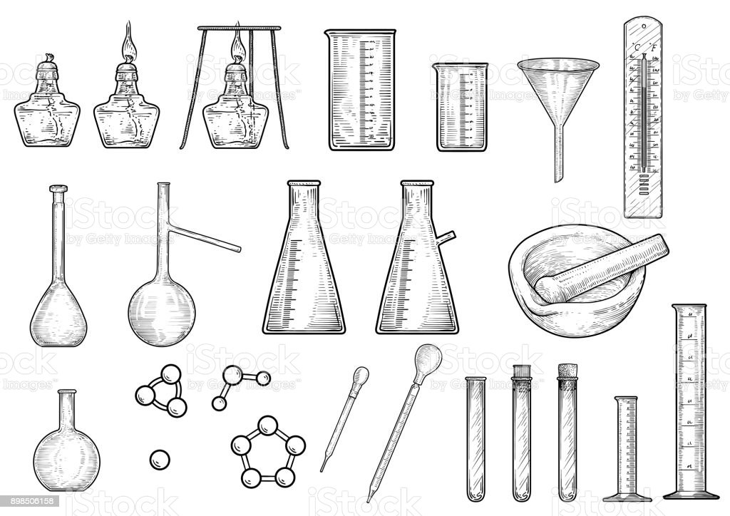 Chemistry or physics equipments collection illustration, drawing, engraving,   ink, line art, vector vector art illustration