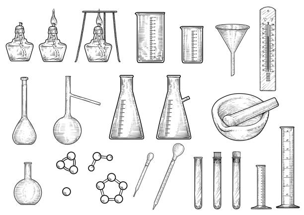 Chemistry or physics equipments collection illustration, drawing, engraving,   ink, line art, vector Illustration, what made by ink, then it was digitalized. drawing of a glass liquor flask stock illustrations