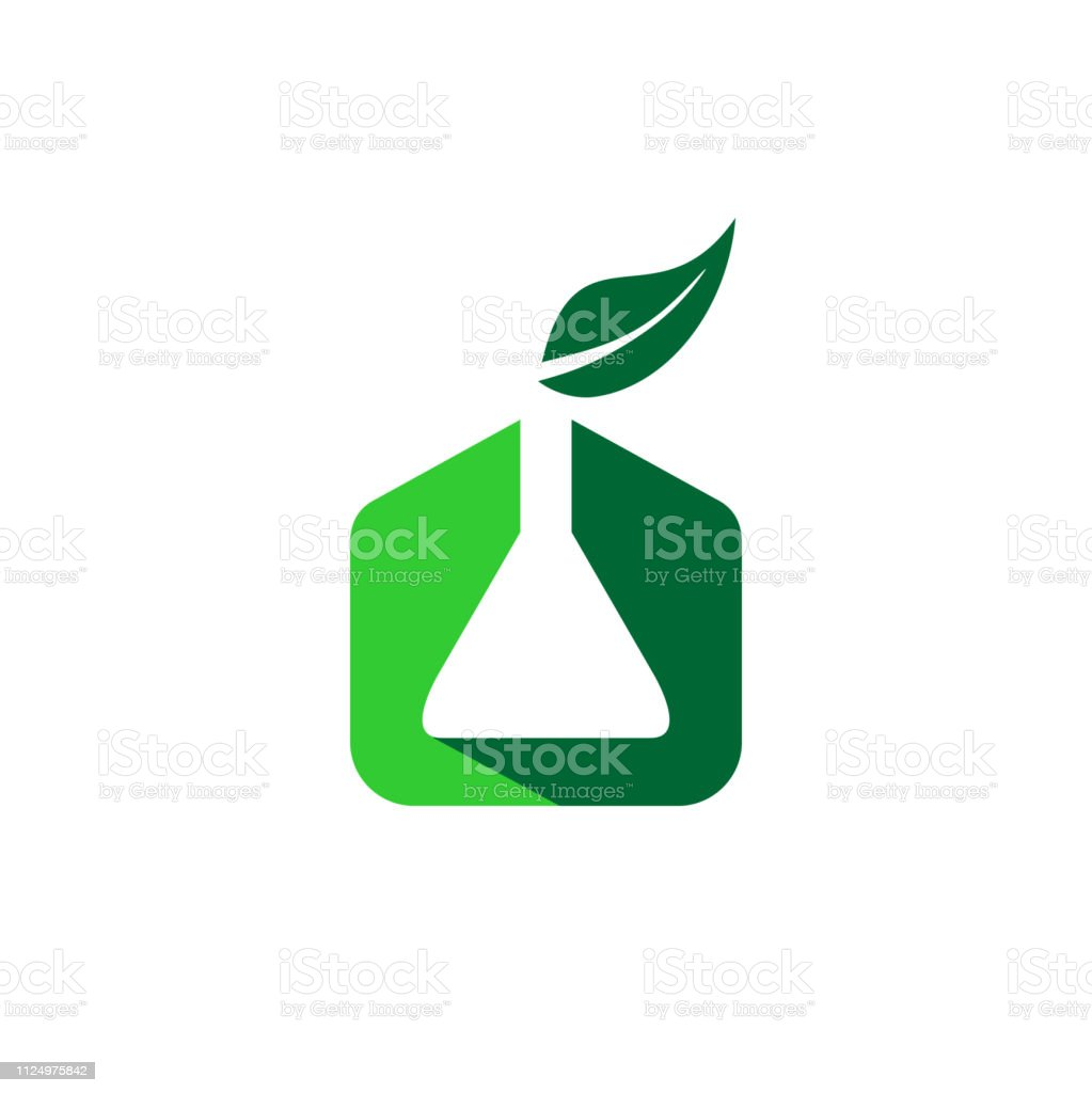 Chemistry organic with chemical and leaf symbol logo icon.