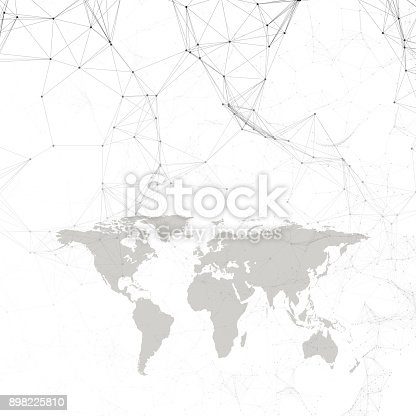 801051868istockphoto Chemistry pattern, black world map, connecting lines and dots, molecule structure on white. Scientific medical DNA research. Medicine, science, technology concept. Geometric design abstract background 898225810
