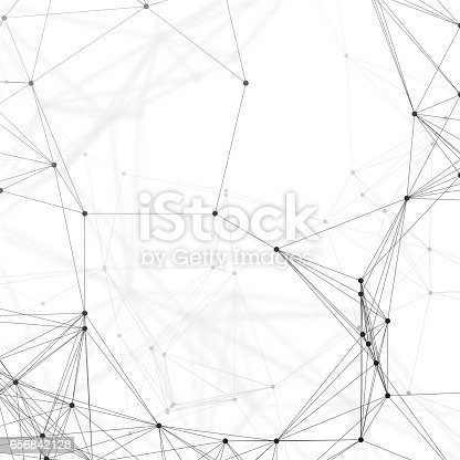 istock Chemistry pattern, connecting lines and dots, molecule structure on white, scientific medical DNA research, geometric graphic background. Medicine, science and technology concept. Minimalistic design 656842128