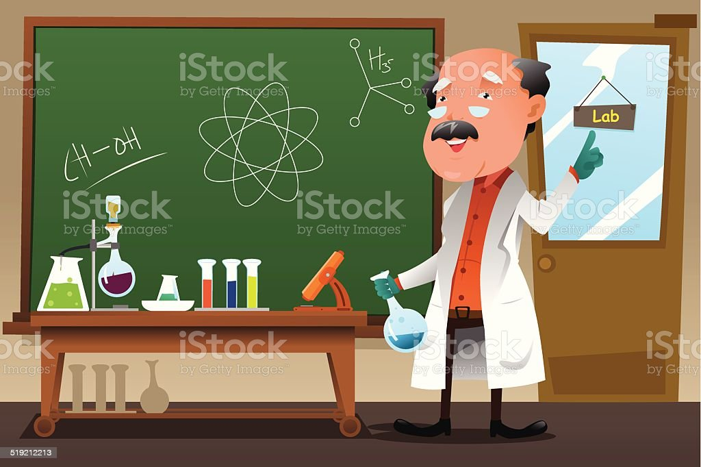 Chemistry professor working at the lab vector art illustration