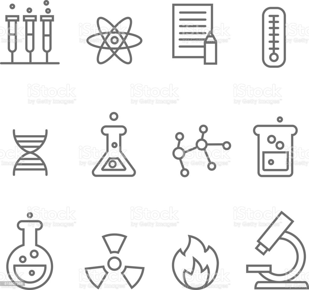 Chemistry science and bio technology line icons. Biology molecular,  vector vector art illustration