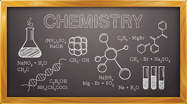 Chemistry, Science, Chemical Elements, Blackboard Vector Illustration of Chemistry Elements. Best for Science, Chemistry, Education, Research, Concept. laboratory glassware stock illustrations