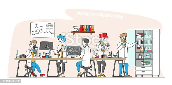 istock Chemistry Science Concept. Scientists Characters in Chemical Laboratory with Equipment, Computer, Microscope and Flasks 1280889798