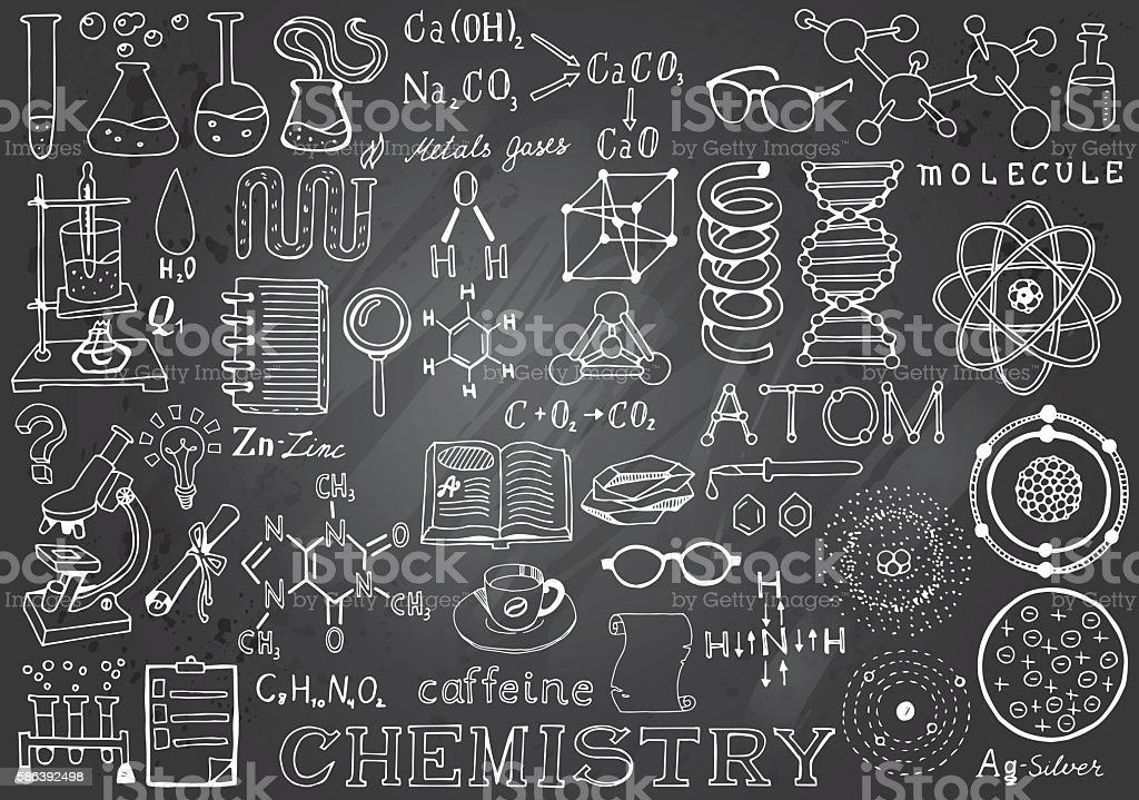 Chemistry Science Doodle Hand Drawn Elements in Gray Chalkboard Background. vector art illustration