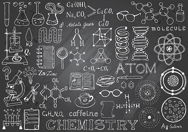Chemistry Science Doodle Hand Drawn Elements in Gray Chalkboard Background. Chemistry Science Doodle Hand Drawn Elements in Gray Chalkboard Background. Science and School Education theme. laboratory glassware stock illustrations