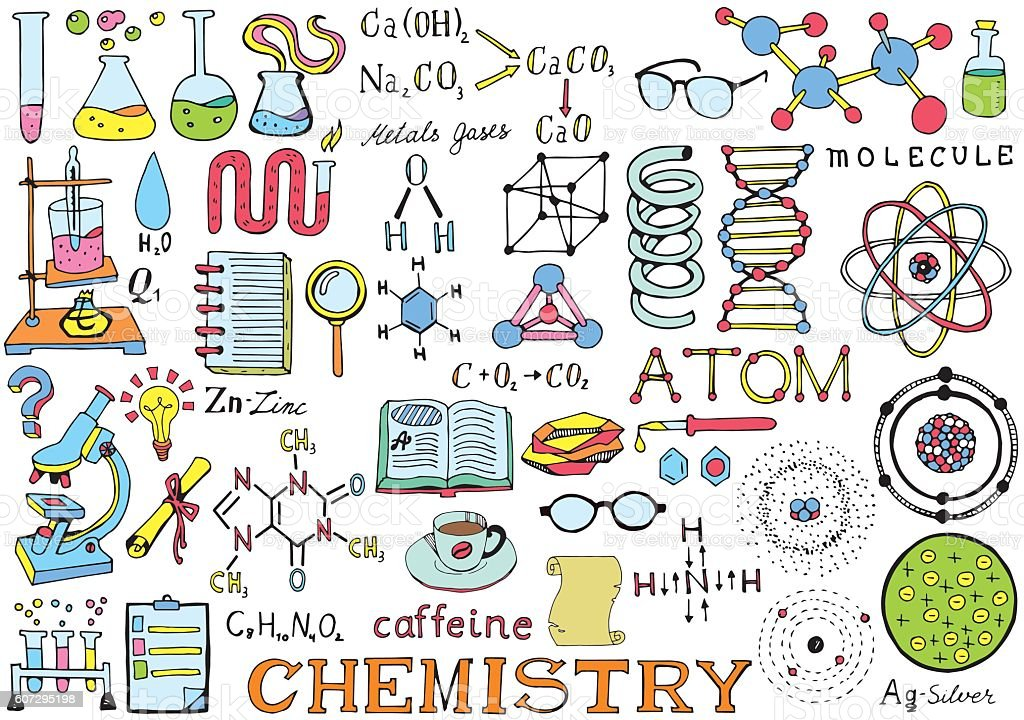 Chemistry Science Doodle Handwriting Elements Science And