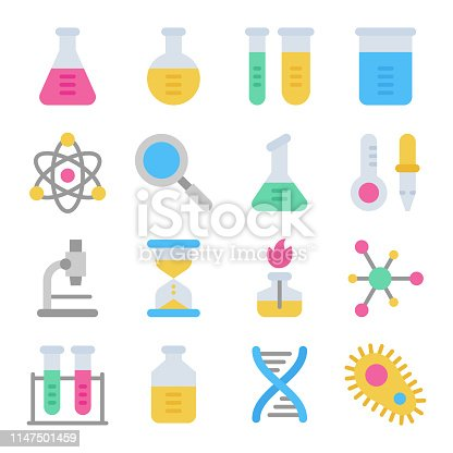 Chemistry science laboratory colorful vector icon set. Pharmacy and chemistry, education and science elements and equipment