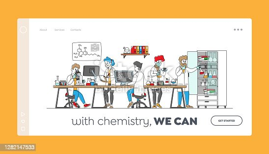 istock Chemistry Science Landing Page Template. Scientists Characters in Chemical Lab with Equipment, Computer, Microscope 1282147533