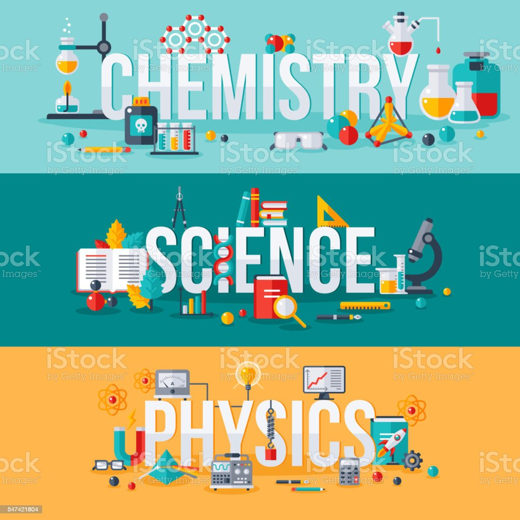 Chemistry, science, physics words vector art illustration