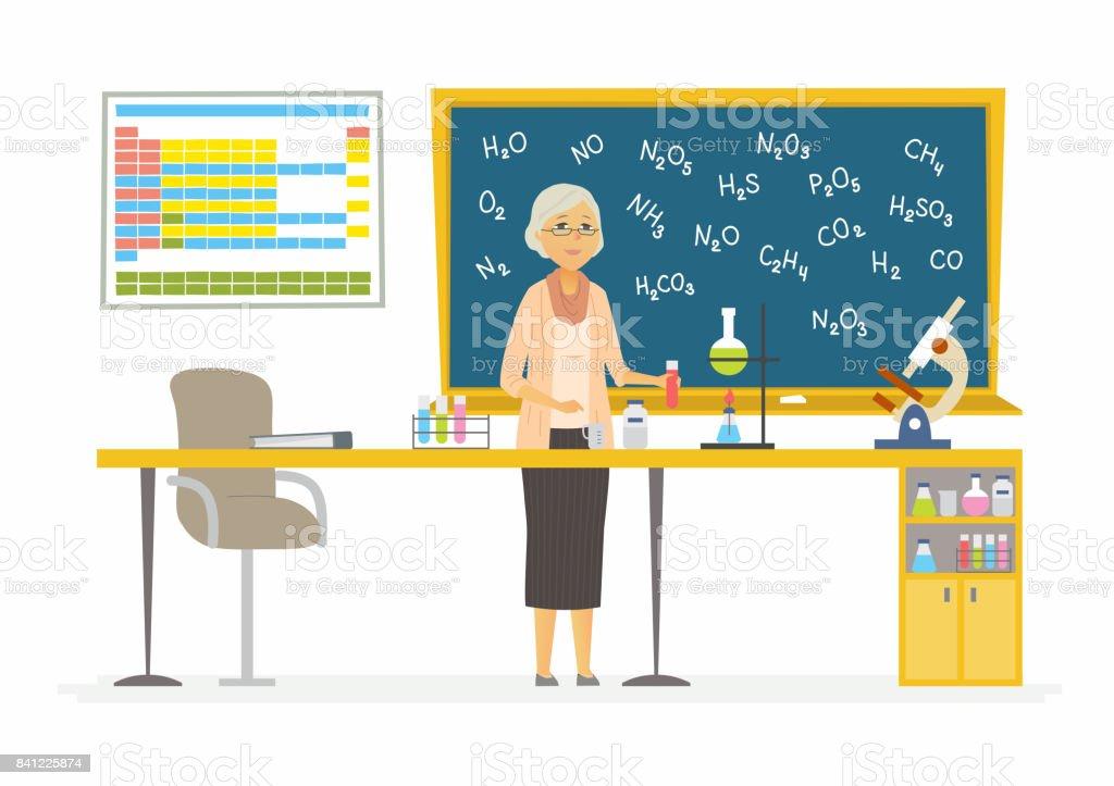 Modern Chemistry Classroom ~ Chemistry teacher modern cartoon people characters