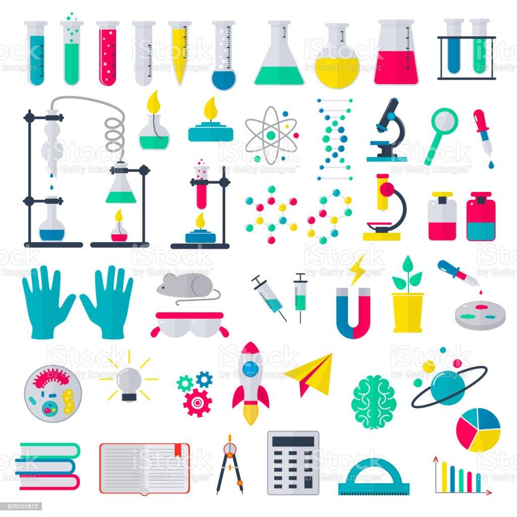 Ilustración de Química Investigación Ciencia O Farmacia Química En ...